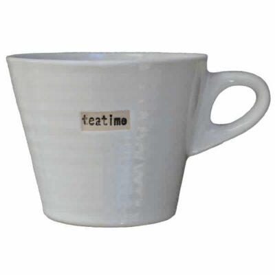 Broste copenhagen mok wit met opschrift teatime