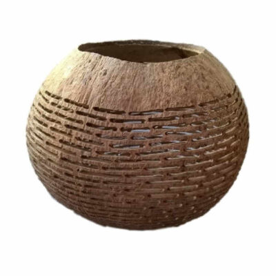 kokosnoot waxinehouder met horizontale strepen