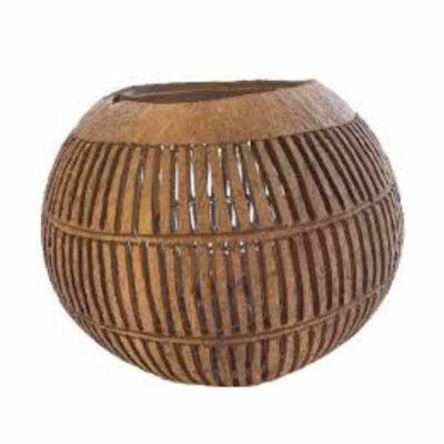 kokosnoot waxinehouder met verticale strepen