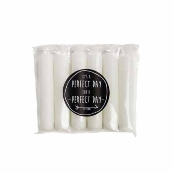 Rustik Lys dinerkaars wit 6-pack