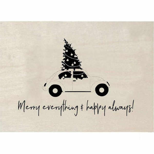 zoedt houten kerst kaart merry everything