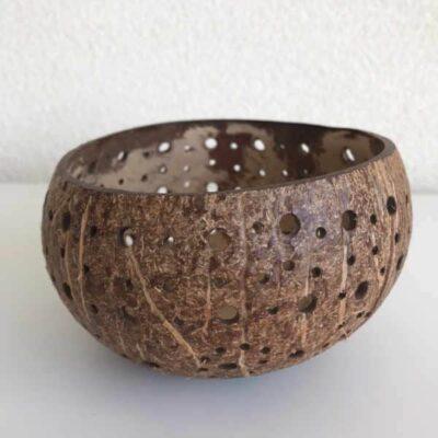 Yoshiko Kokosnoot waxinehouder met grote en kleine gaten