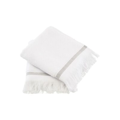 Meraki Handdoeken wit met grijze strepen