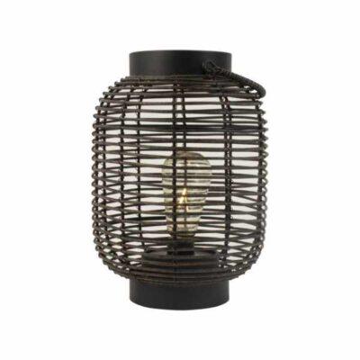 Gusta Rotan lantaarn zwart 17 met LED