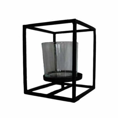 Windlicht Kubus zwart met glas